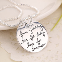 Wholesale wholesale fashion jewelry for sale - 2018 New Fashion Jewelry Learn From Yesterday Live For Today Hope For Tomorrow Letter Pendant Necklace Gift For Women Colors ZJ