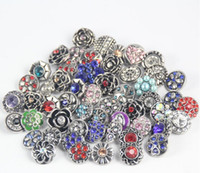Wholesale Snaps Rhinestones - chunks snap button jewelry Mix Many styles 18mm Metal Snap Button Charm Rhinestone Styles Button Ginger Snaps Jewelry qn