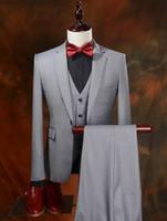 männer prom bilder großhandel-Echt Bild Bräutigam Smoking Slim Fit Groomsmen One Button Best Man Anzug / Bräutigam / Hochzeit / Prom / Dinner-Anzüge (Jacke + Hose + Weste) K533