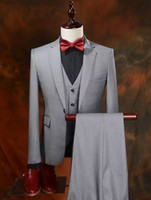 Wholesale Silver Color Tuxedo - Real Picture Groom Tuxedos Slim Fit Groomsmen One Button Best Man Suit Bridegroom Wedding Prom Dinner Suits (Jacket+Pants+Vest) K533