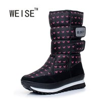 Wholesale thermal cotton boots - Wholesale- Large Size 35-41 WEISE New Fashion Women Shoes Thermal Medium-Leg Waterproof Boots Snow Boots Cotton Boots2016 Winter