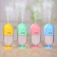 Wholesale Capsule Shape - 120ML Creative Capsule Shape Mini USB Humidifier Air Purifier with Colorful LED Lights Ultrasonic Aroma Humidifier