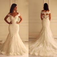 Wholesale vintage bridal wear - 2015 Hot Sale Mermaid Wedding Dresses Vintage Lace Appliques Bridal Gowns V Neck Off the Shoulder Hollow Back Custom Made Brides Wear