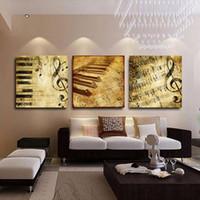 notas de música arte de la pared al por mayor-Notas de la música retro pintura moderna HD pintura impresa sobre lienzo Home Wall Art decoración regalo 16x20incx3P