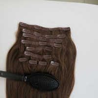 Wholesale brown straight remy hair weave for sale - Group buy 220g set inch Clip in human Hair Extensions Brazilian Hair Medium Brown color Remy Straight Hair weaves free comb