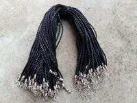 cordón de cuero trenzado 3mm al por mayor-18 '' 3mm Cuero Negro PU de la trenza de cables de collar con cierre de langosta para la joyería DIY Neckalce colgante de la joyería del arte