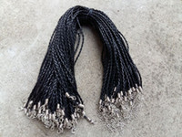 ingrosso cordoncino in pelle intrecciata nera-18 '' 3mm nero in pelle PU intrecciato corde con chiusura a moschettone per gioielli fai da te gioielli artigianali collo di ciondolo