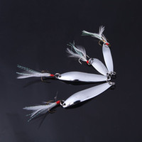 Wholesale Bait Minnows Sale - Hot Sale 4Pcs set 5 7 10 13g Fishing Spoon Lure Sequin Paillette Metal Hard Bait Crappie Minnow with Feather Hook Tackle Silver