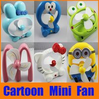 Wholesale Minions Usb Dhl - Cortoon Cute Portable USB Mini Fan Rechargeable Battery Minions Hello Kitty Doraemon Fans with Retail package Gift For kids Free DHL 30pcs
