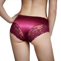 hochwertiges seidenschlüpfer großhandel-Großhandelsmarken-Schlüpfer für Frauen-reizvolle Unterwäsche nahtlos mit Luxusperlglanzseidenspitze-Frauen-Unterwäsche-heißem Schlüpfer 100% reale Qualität