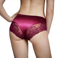 Wholesale sexy silk bikini woman underwear online – Brand Panties for Women Sexy Underwear Seamless with Luxury Pearlescent Silk Lace Women Underwear Hot Panties Real Quality