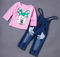 Wholesale Girl Kid Jean Shirt - Spring autumn kids boys girls shirt+ jean pants set 2 pieces,cartoon mickey pattern long sleeve clothes suit girls clothing