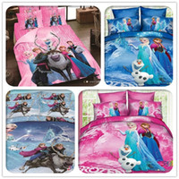 Wholesale Quilt Duvet Kids - 2015 AAA+quality 3 color frozen Bedding 4pcs Set Kid Duvet Cover Set Bedclothes Bed linen Quilt Cover GiftTwin Full Queen Size