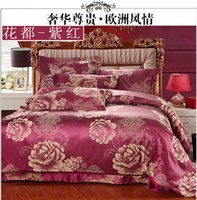 Wholesale Luxurious Satin Duvet - Wholesale-free shipping cotton bedding set luxurious satin jacquard bed set wedding decoration duvet cover bed linen queen king HA015Q