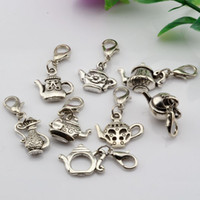 Wholesale diy online - Hot Sales Antique Silver Alloy Mixed Teapot Charms With lobster clasp Fit Charm Bracelet style DIY Jewelry