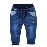 Wholesale Napped Pants - High Quality Childrens Plus Velvet Jean With Elastic Waist Boys Winter Thick Trousers Kids Added Soft Nap Pants With Embroidered Soldier