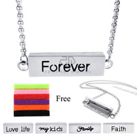 Wholesale Forever Pendants - Chains as Gift! 35MM*10MM Silver Forever Stainless Steel Essential Oils Aromatherapy Locket Family Perfume Locket Necklace