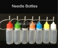botellas de vapor ml al por mayor-Colorido 10 ml (1/3 oz) cuentagotas de plástico tapas de aguja consejos seguros LDPE para E Cig CE5 Protank T2 Vapor Vape cigarrillo electrónico líquido