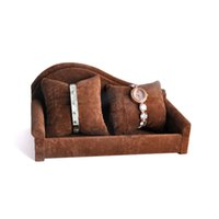 Wholesale Jewelry Sofa Velvet - Soft 2 Pillows Sofa Velvet Display Stand Watch Show Storage Organizer Bangle Bracelet Chain Jewelry Holder Exhibitor 2017 New