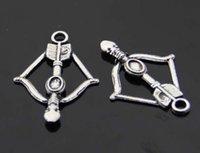 Wholesale Bow Jewlery - 2016 New Arrival Wholesale 25PCS Arrow Bow Charm Vintage Antique Silver Pendant DIY Jewlery Making 23x35mm