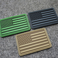 Wholesale Car Flag Usa - PVC 10pcs lot USA American Flag TACTICAL COMBAT Badge Morale Military Patch USA FLAG BNW Patch
