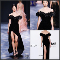 Wholesale marchesa gold white for sale - Group buy 2019 New Black Marchesa Split Dresses Evening Wear Sheath Off Shoulder Party Evening Gowns Velvet Floor Length Celebrity Dress