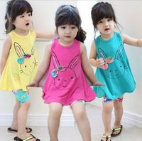 Wholesale Giraffe Girls - 2015 Baby Girl Long T-shirt Girls Shirts Giraffe T-shirt Dress Lovely Rabbit Shirt Sleeveless Cotton Long Style Tee Top Dresses
