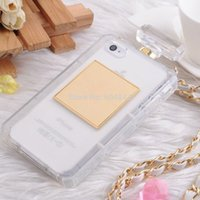 Wholesale C Perfume - DGOO for iPhone 5c 5 C Case with Metal Chain TPU Perfume bottle Case Clear