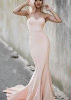 ingrosso abito caldo rosa stock-Vendita calda semplice Sweetheat Pera Pink Mermaid abiti da ballo lunghi abiti da sera per il partito in azione