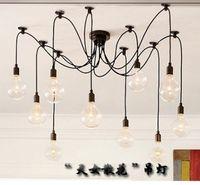 ampoule edison classique achat en gros de-Rétro classique lustre E27 araignée lampe pendentif ampoule groupe Edison diy éclairage lampes lanternes accessoires fil de messager