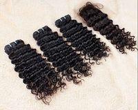 Wholesale Saving Machine Free Shipping - Wholesale-Malaysian Curly Hair Save Money 3+1 Malaysian Virgin Hair Lace Closure With Bundles Human Hair Free Shipping Sexy Formula Hair