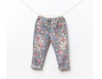 çiçek kızları sıkı toptan satış-Bebek kız çocuklar vintage pamuk gül çiçek Kot çiçek legging çiçek Kot pantolon legging tayt Denim pantolon pijama