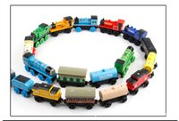 Wholesale Thomas Car Cartoon - Wooden Toys Thomas Train Magnetic Thomas And Friends Wooden Model Train For Baby Children Kids Locomotive Cartoon Magnetic Track