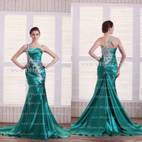Wholesale Red Peacock Dress One Shoulder - 2015 One Shoulder Glamorous Satin Peacock Green Evening Dresses Real Image Sleeveless Mermaid Applique Sweep Train Formal Prom Dress Dhyz