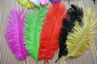 Wholesale Gold Centerpiece Feathers - 100pcs lot 12-14inch(30-35cm) Purple Royal Blue Red White Black Turquoise Orange Gold Burgundy ivory Ostrich Feather wedding centerpiece