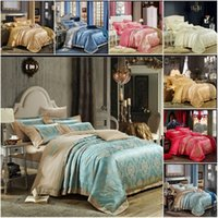 Wholesale Duvet Sets Silk - Wholesale-2015 New Europe Jacquard Satin Silk Luxury Wedding Bedding Set Queen King Size,4pc Duvet Cover Pillowcase Bed Sheet Home Textile