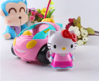 Wholesale Toy Car Lights - Wholesale-Hot sale Toy RC Hello Kitty Remote Control Car Pink kt Doraemon Electric With Music Light Cute brinquedos Children birthday Gift