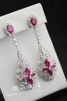 Wholesale Gold Earrings Hong Kong - European and American high-end jewelry Hong Kong International Jewellery Show zircon crystal earrings female super-luxurious Fan earrings