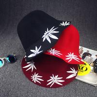 Wholesale Women Newsboy Cashmere - Fashion Cap Maple Leaf Printing Wool Hat Jazz Hat along the Flat Woolen Hats for men and women Hat Cloche Headwear