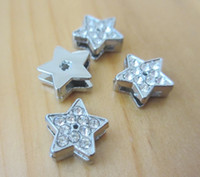 Wholesale Diy 8mm Star Slide Charms - 8mm rhinestone star slide diy bracelet charms zinc alloy