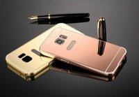 Wholesale Metal Bumpers - Mirror Luxury Metal Aluminum Bumper Frame PC Back Cover for Samsung Galaxy Note 2 4 5 A3 A5 A7 2016 2015 100PCS