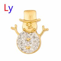 Wholesale Porcelain Animal Beads - Christmas gift Noosa Button Snap Gold Snowman Snap Jewelry White Crystal Metal Snap Button For Women's Fashion Necklace AC132