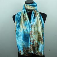 okyanus yağlı boya toptan satış-1 adet Kahverengi Totem Mavi Okyanus kadın Moda Saten Yağlıboya Uzun Wrap Şal Plaj Ipek Eşarp 160X50 cm