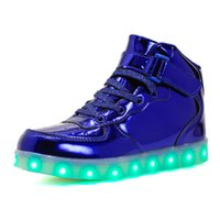 Moda Popular 2017 Light Up Shoes High Top Gold Silver 4 cores Multi Mode Shuffle Dance SEVE Led Luminous Shoes