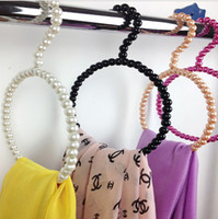 Wholesale Pearl Hangers - New Style Pearl Plastic Scarf Ring,Beautiful Beads Hanger, 4 Colors