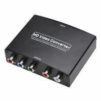rgb rca adapter großhandel-1 stücke HDMI Zu 5 RCA RGB Komponente YPbPr Video + R / L Audio Adapter Konverter Für HDTV Mit Netzteil US Stecker
