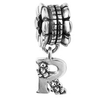 Wholesale Sterling Silver Letter R Charm - 100% 925 Sterling Silver Beads Fit Pandora Charms Bracelet DIY Brand Fashion Jewelry Alphabet Dangle R 018