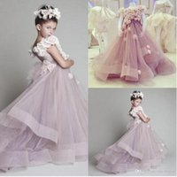 Wholesale Girl Dresses One Shoulder - 2015 Cheap Cute Princess Tulle Ruffled Handmade Flowers One Shoulder Lovely Flower Girls' Dresses Hot Toddler Girl's Pageant Dresses CPS023