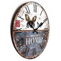 Prix ​​le plus bas Papillon Vintage rustique Shabby Chic Home Office Cafe Bar Art Décor Horloge murale commander 18Personne $ piste