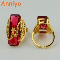 Anniyo ONE PIECE / Red / Blue / Green Ring for Women Gold Color Moda Anéis árabes Jóias africanas Casamento etíope # 053306